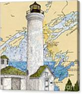Tibbetts Pt Lighthouse Ny Lake Ontario Nautical Chart Map Art Canvas Print