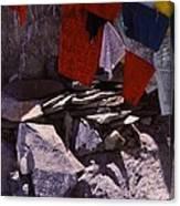 Tibetan Prayer Flags Behind The Potala Palace Canvas Print