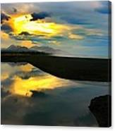 Tidal Pond Sunset New Zealand Canvas Print