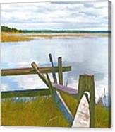 Tide And Fence Oil Canvas Print