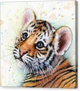 Tiger Cub Watercolor Art Canvas Print