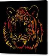 Tiger Watercolor - Black Canvas Print