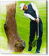 Tiger Woods Hits A Shot From The Rough Canvas Print
