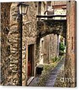 Tight Alley With A Bridge Canvas Print