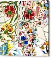 Tile Work In The Antoni Gaudi Park Barcelona Canvas Print