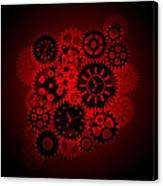 Time Clock Gears Clipart On Red Background Canvas Print