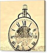 Time In The Sand In Sepia Canvas Print