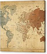 Time Zones Map Of The World Canvas Print