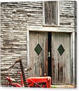 Red Tractor And Old Barn Ossipee New Hampshire Canvas Print