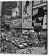 Times Square Bw Canvas Print