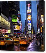 Times Square In The Rain Canvas Print