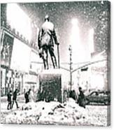 Times Square In The Snow - New York City Canvas Print
