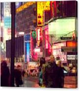 Times Square - Man Walking With Yellow Bag Canvas Print