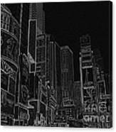 Times Square Nyc White On Black Canvas Print