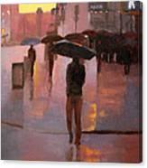 Times Square rain Canvas Print