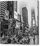 Times Square With Fog Canvas Print