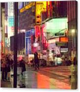 Times Square With Runaway Horse Canvas Print
