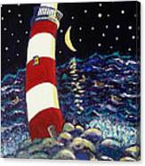 Tipsy Lighthouse With White Cat Canvas Print