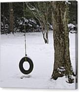 Tire Swing In Winter Canvas Print