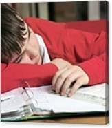 Tired Boy Asleep On His Homework Canvas Print