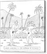 Title: Adam And Eve In The Garden Of Fitness Canvas Print