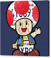 Toad From Mario Brothers Nintendo Original Vintage Recycled License Plate Art Portrait Canvas Print