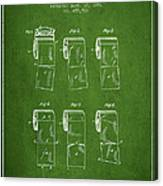 Toilet Paper Roll Patent From 1891 - Green Canvas Print