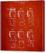 Toilet Paper Roll Patent From 1891 - Red Canvas Print