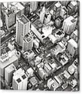 Tokyo City Black And White Canvas Print