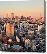 Tokyo Cityscape At Sunset Canvas Print