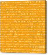 Tokyo In Words Orange Canvas Print