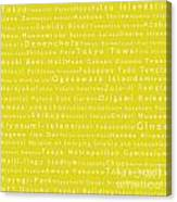 Tokyo In Words Yellow Canvas Print