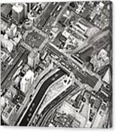 Tokyo Intersection Black And White Canvas Print