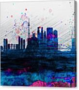 Tokyo Watercolor Skyline 2 Canvas Print