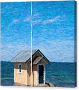 Torekov Beach Hut Painting Canvas Print