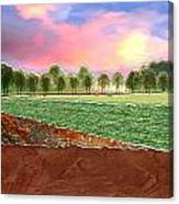 Torn Paper Fields Of Green And Brown Canvas Print
