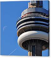 Toronto Cn Tower Moon And Jet Trail Canvas Print