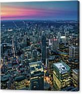 Toronto Downtown City At Night Canvas Print
