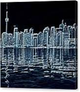 Toronto Skyline In Blue Canvas Print