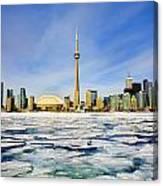 Toronto Skyline In Winter Canvas Print