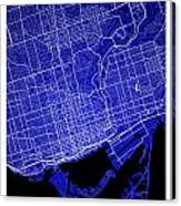 Toronto Street Map - Toronto Canada Road Map Art On Colored Back Canvas Print