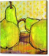 Touching Green Pears Art Canvas Print