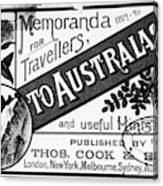 Tourism Australasia, 1889 Canvas Print