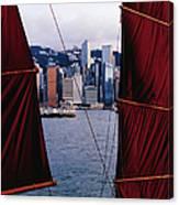 Tourist Boat Junk Sails Framing Canvas Print