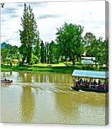 Tourist Raft Being Towed On River Kwai In Kanchanaburi-thailand Canvas Print