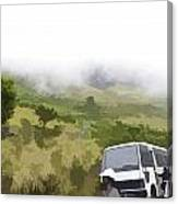 Tourists And Bus Inside The Eravikulam National Park Canvas Print