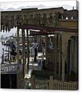 Tourists At The Front Section Of Houseboats Lined Up Along Dal Lake Canvas Print