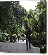 Tourists Inside A Downward Sloping Section In The Orchid Garden Canvas Print
