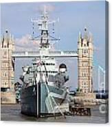 Tower Bridge And Battleship 5863 Canvas Print