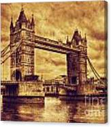 Tower Bridge In London Uk Vintage Style Canvas Print